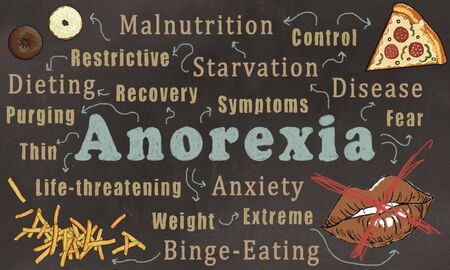 Wordcloud of Anorexia Nervosa. Illustrated on a Trendy Brown Blackboard with Words, Food and a Mouth with a red Cross Stock Photo