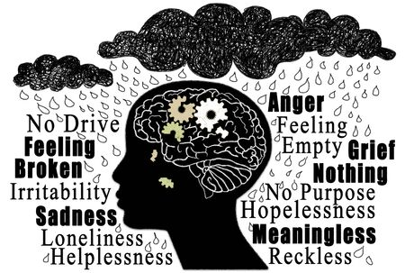 Depression Concept with Word Cloud and a Humanbeing with broken Brain and Heavy Rain