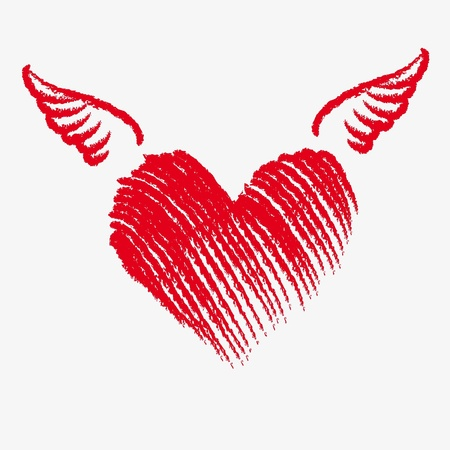 heart with wings: Cupid heart with wings