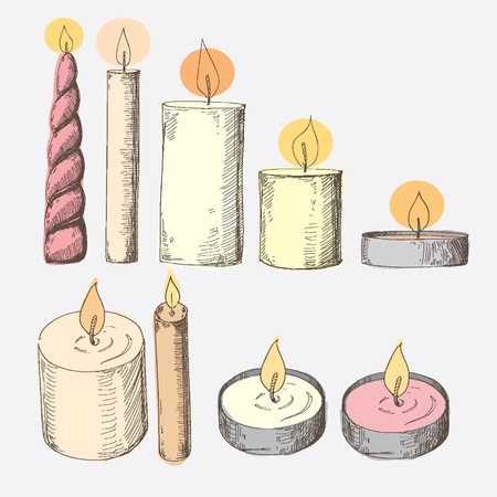 Set of candles Stock Vector - 17810193