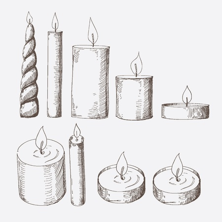 Set of hand drawn candles