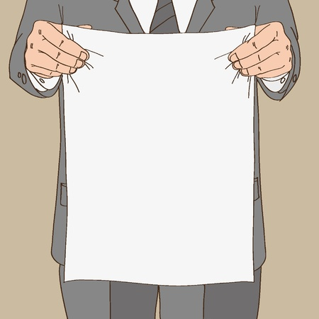 Man in suit holds sheet of paper