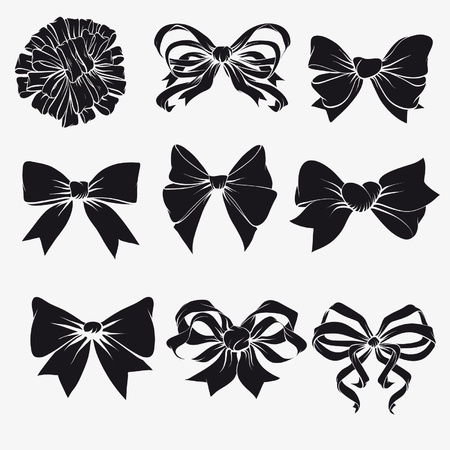 Set of bows isolated on a white