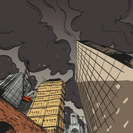 clouds scape: Hand drawn cityscape, vector illustration  Illustration