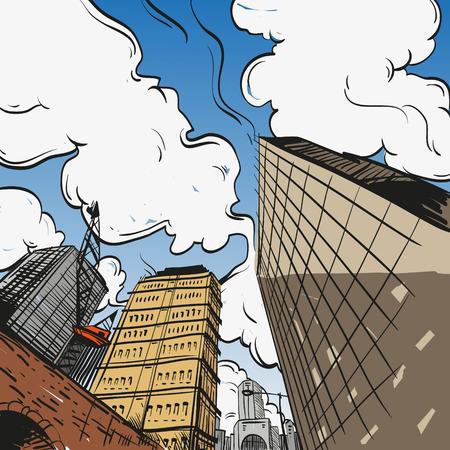 ベクトル イラスト、手で描かれた都市景観