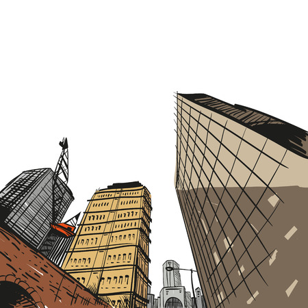 Hand drawn cityscape, vector illustration  Çizim