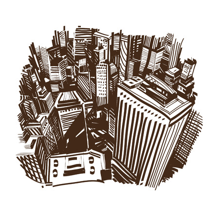 Hand drawn cityscape, vector illustration  Vector