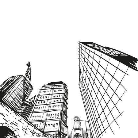 new york street: Hand drawn cityscape, vector illustration  Illustration