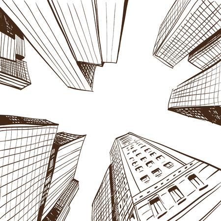 描かれた都市景観の手、ベクトル イラスト