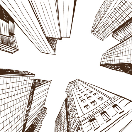 Hand drawn cityscape, vector illustration  Vectores
