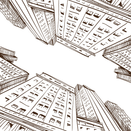 city scape: Hand drawn cityscape, vector illustration  Illustration