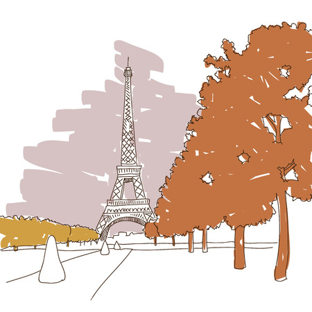 Hand drawn Eiffel Tower  Paris, vector illustration Vector