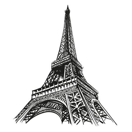 torre: Dibujado a mano Torre Eiffel París Vectores