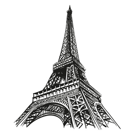 Hand drawn Eiffel Tower  Paris Vettoriali