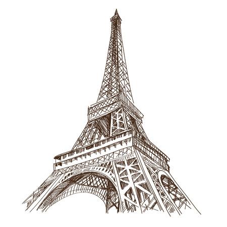 eiffel tower: Dibujado a mano Torre Eiffel de Par�s, ilustraci�n vectorial