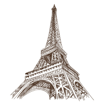 landmarks: Hand drawn Eiffel Tower  Paris, vector illustration