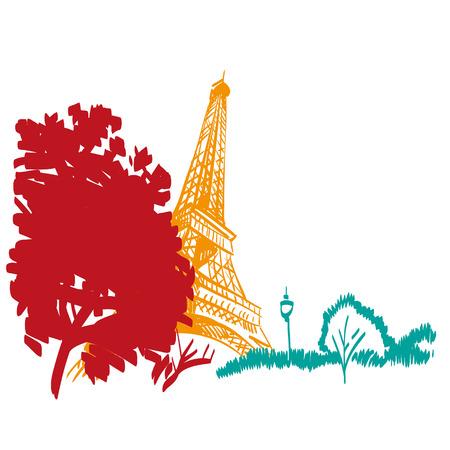 Hand drawn Eiffel Tower  Paris, vector illustration Vector