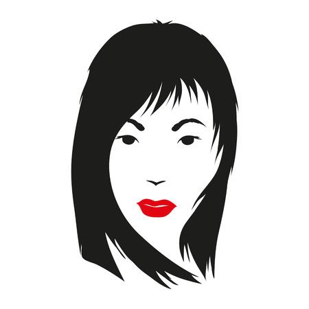 punk hair: Fashion silhouette woman style, vector illustration