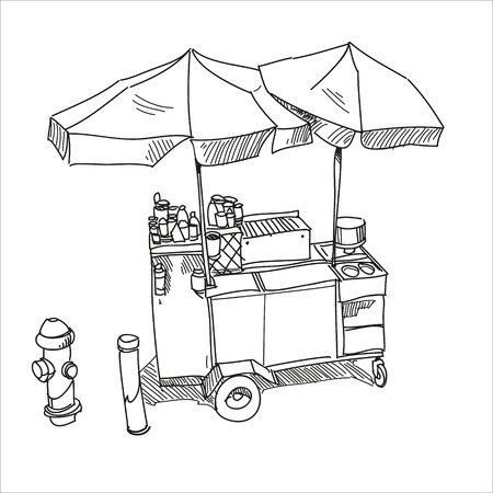 Street food Hot dog stand hand drawn, vector illustration