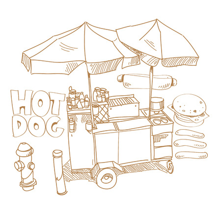 Street food  Hot dog stand hand drawn, vector illustration  Illustration
