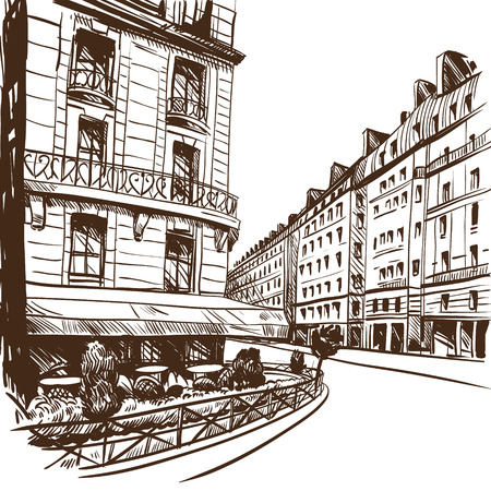 avenues: Hand drawn Paris, vector illustration  Illustration