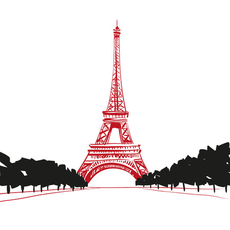 tv tower: Hand drawn Eiffel Tower  Paris, vector illustration