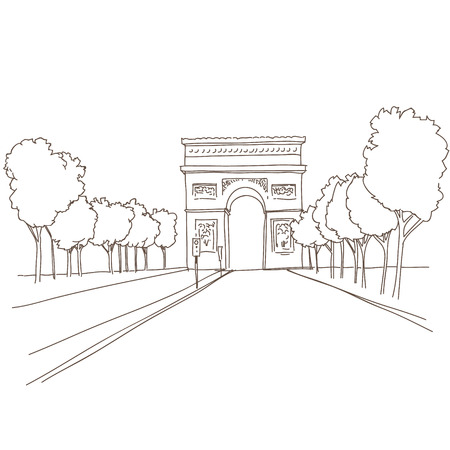 Hand drawn Triumphal arch  Paris, vector illustration  Illustration