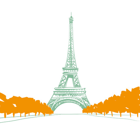 Hand drawn Eiffel Tower  Paris, vector illustration