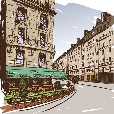 balcony view: Hand drawn Paris, vector illustration  Illustration