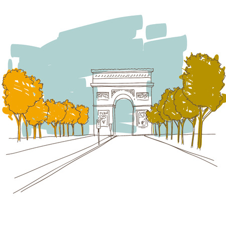 triumphal: Hand drawn Triumphal arch  Paris, vector illustration  Illustration