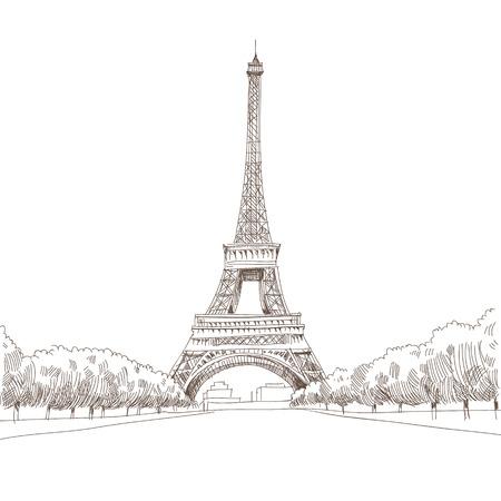 Hand getrokken Eiffeltoren in Parijs, vector illustratie Stock Illustratie