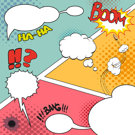 blowup: Comic Speech Bubbles on a comic strip background, vector illustration