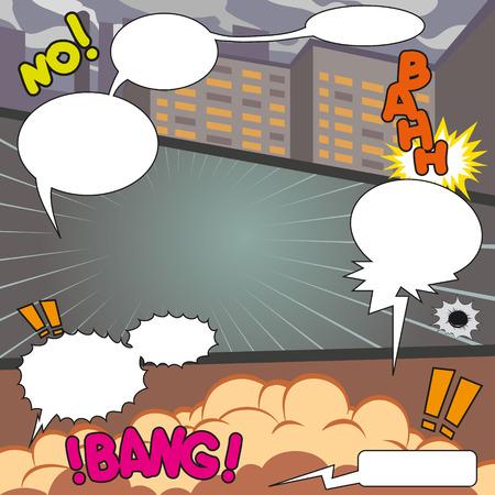 clash: Comic Speech Bubbles on a comic strip background