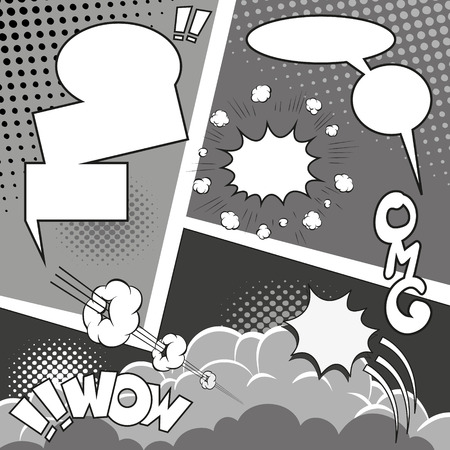 Comic Speech Bubbles on a comic strip background, vector illustration Vector