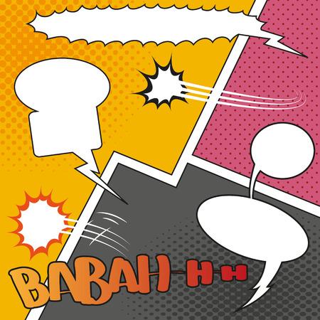 clash: Comic Speech Bubbles on a comic strip background, vector illustration