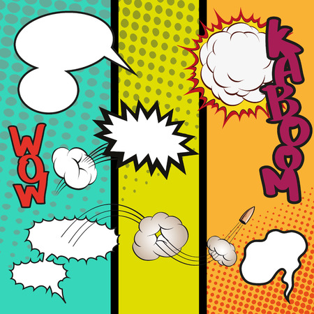 Comic Speech Bubbles on a comic strip background