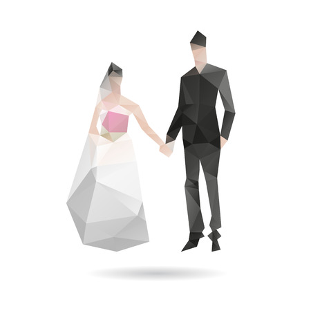 spousal: Bride and groom isolated on a white background