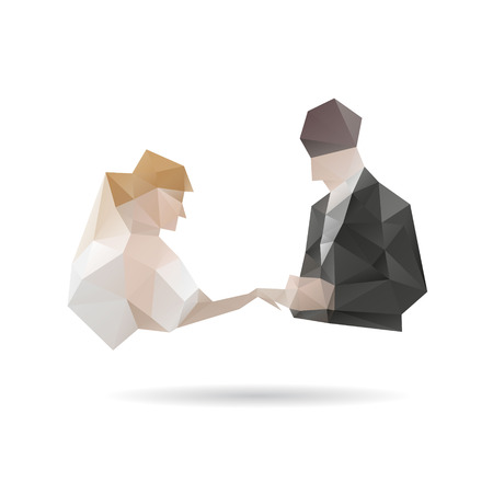 Bride and groom isolated on a white backgrounds, vector illustration