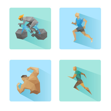 Set of flat design sport icons isolated on a white background
