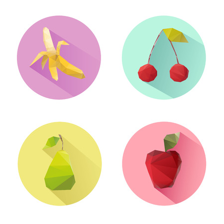 Set of flat design vegetables icons isolated on a white background, vector illustration Vector