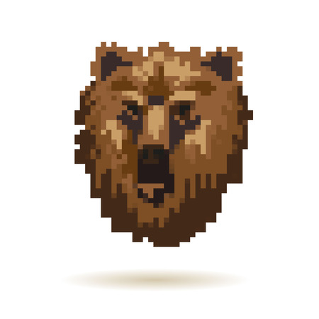 8 bit: Head bear abstract isolated on a white background Illustration