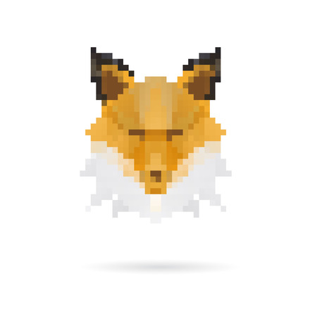simple life: Head fox abstract isolated on a white background