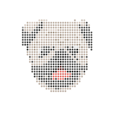 Pug portrait abstract isolated on a white background Vector