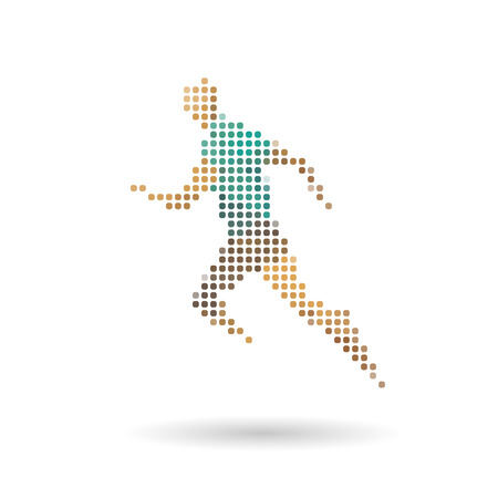 Sports man running abstract isolated on a white backgrounds, vector illustration Vector
