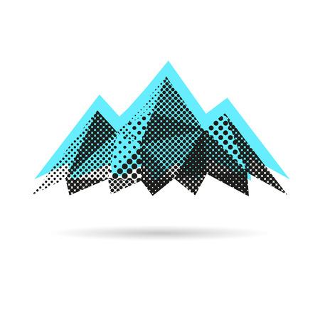 白い背景に分離された山概要  イラスト・ベクター素材