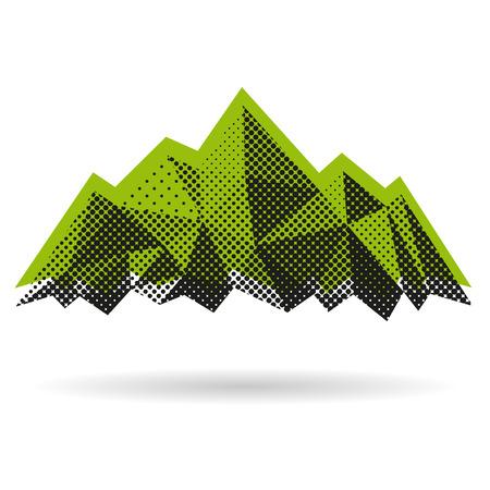 Berg abstracte geïsoleerd op een witte achtergrond Stock Illustratie