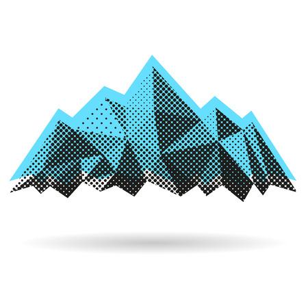 白い背景で隔離された山の抽象的な