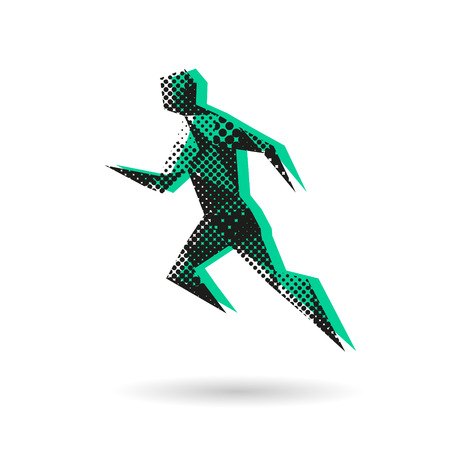 scamper: Sport man running abstract isolated on a white background