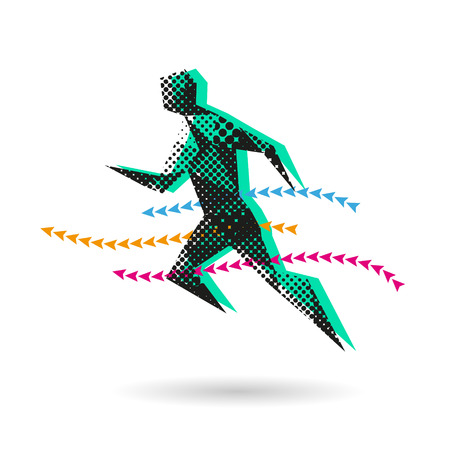 sport man: Sport man running abstract isolated on a white background