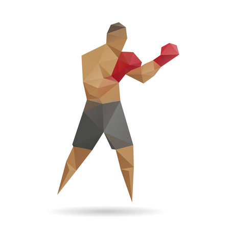 combat sport: Boxer abstract isolated on a white background Illustration